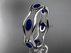 14k white gold beautiful wedding ring,engagement ring with Blue Sapphires  ADLR22 - AnjaysDesigns