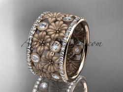 14k rose gold diamond flower wedding ring, engagement ring ADLR232B - AnjaysDesigns, Spring Collection - Jewelry, Anjays Designs - AnjaysDesigns, AnjaysDesigns - AnjaysDesigns.co,