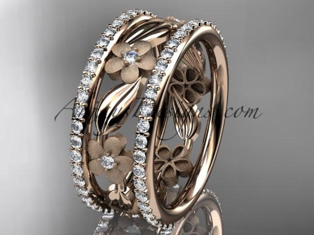 14k rose gold diamond flower wedding ring, engagement ring ADLR233B - AnjaysDesigns, Spring Collection - Jewelry, Anjays Designs - AnjaysDesigns, AnjaysDesigns - AnjaysDesigns.co,