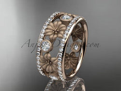 14k rose gold diamond flower wedding ring, engagement ring ADLR239 - AnjaysDesigns, Spring Collection - Jewelry, Anjays Designs - AnjaysDesigns, AnjaysDesigns - AnjaysDesigns.co,