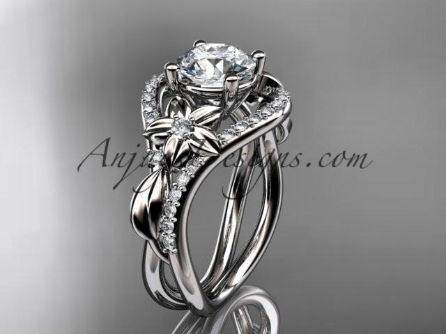 Unique platinum diamond leaf and vine wedding ring, engagement ring ADLR244 - AnjaysDesigns