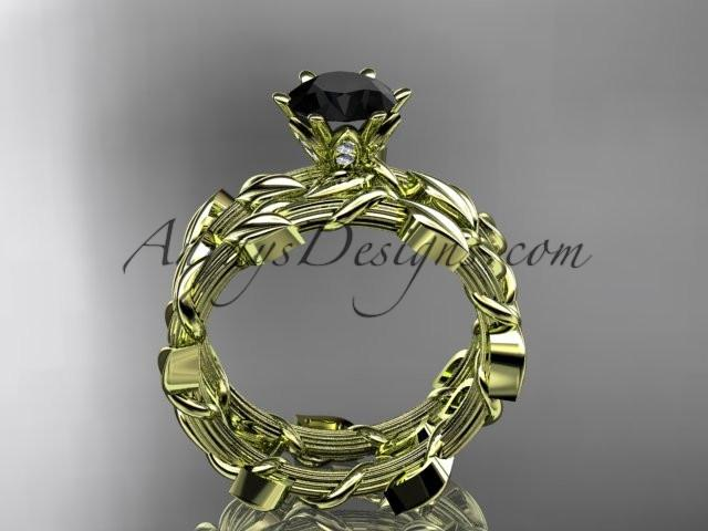 Unique 14kt yellow gold diamond floral engagement set with a Black Diamond center stone ADLR248S - AnjaysDesigns