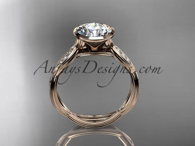 "14k rose gold diamond wedding ring,engagement ring with ""Forever One"" Moissanite center stone ADLR24 - AnjaysDesigns"
