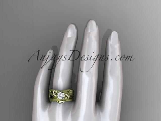 "14kt yellow gold diamond floral, leaf and vine wedding ring, engagement set with a ""Forever One"" Moissanite center stone ADLR253S - AnjaysDesigns"