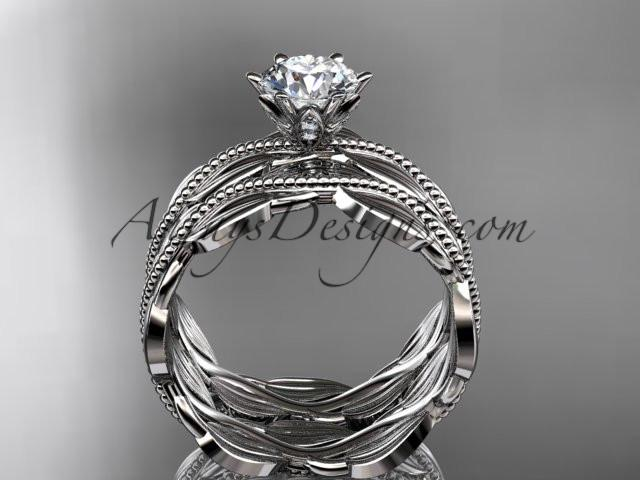 platinum leaf and vine engagement ring, wedding set ADLR258S - AnjaysDesigns