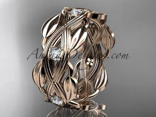 14kt rose gold leaf wedding ring, wedding band ADLR259B - AnjaysDesigns