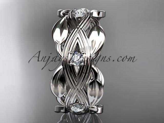 platinum leaf wedding ring, wedding band ADLR259B - AnjaysDesigns
