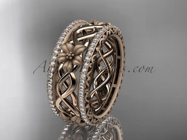 14k rose gold diamond flower wedding ring, engagement ring ADLR260 - AnjaysDesigns, Spring Collection - Jewelry, Anjays Designs - AnjaysDesigns, AnjaysDesigns - AnjaysDesigns.co,