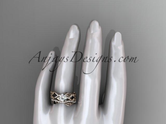 Unique 14kt rose gold floral diamond wedding ring, engagement set ADLR270S - AnjaysDesigns