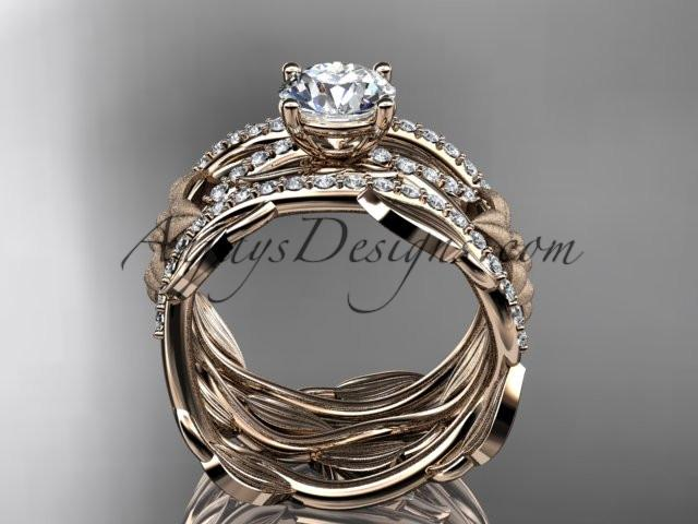 Unique 14kt rose gold floral diamond wedding ring, engagement ring and double matching band ADLR270S - AnjaysDesigns