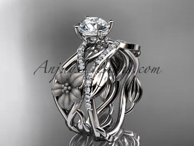 Unique 14kt white gold floral diamond wedding ring, engagement set ADLR270S - AnjaysDesigns