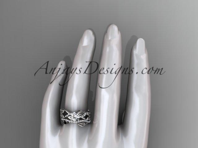 Unique platinum floral diamond wedding ring, engagement set ADLR270S - AnjaysDesigns