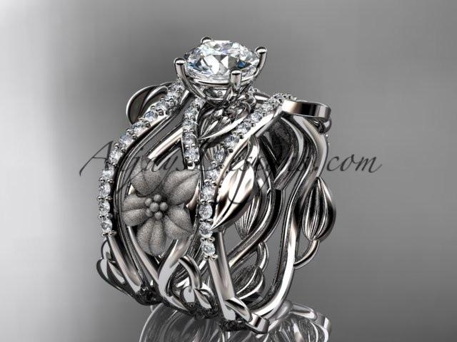 Unique platinum floral diamond wedding ring, engagement ring and double matching band ADLR270S - AnjaysDesigns