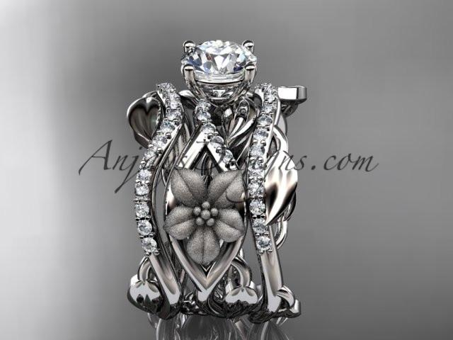 Unique 14kt white gold floral diamond wedding ring, engagement ring and double matching band ADLR270S - AnjaysDesigns