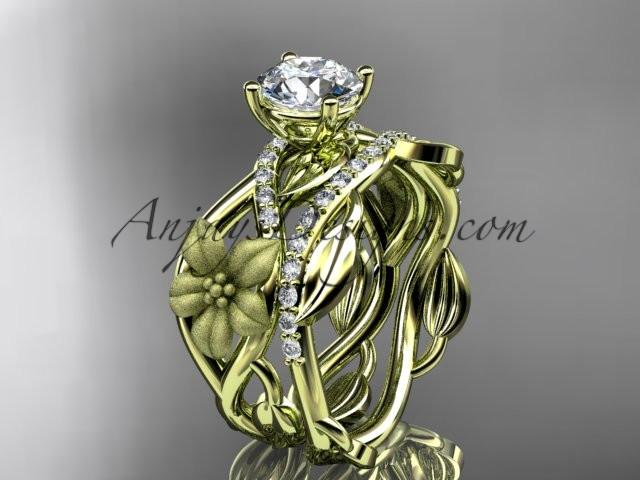 Unique 14kt yellow gold floral diamond wedding ring, engagement set ADLR270S - AnjaysDesigns