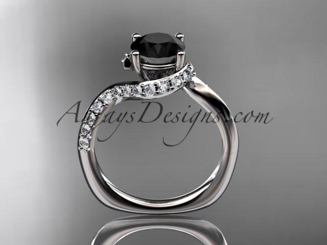 Unique platinum engagement ring, wedding ring with a Black Diamond center stone ADLR277 - AnjaysDesigns