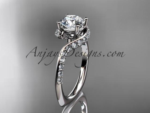 "Unique platinum engagement ring, wedding ring with a ""Forever One"" Moissanite center stone ADLR277 - AnjaysDesigns"