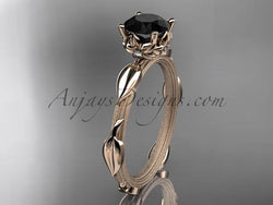 14k rose gold diamond vine and leaf wedding ring, engagement ring with a Black Diamond center stone ADLR290 - AnjaysDesigns