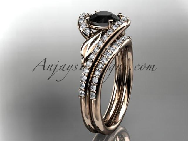 14k rose gold diamond leaf and vine wedding ring, engagement set with a Black Diamond center stone ADLR317S - AnjaysDesigns, Black Diamond Engagement Sets - Jewelry, Anjays Designs - AnjaysDesigns, AnjaysDesigns - AnjaysDesigns.co,