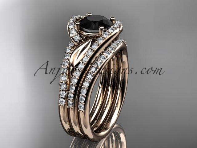 14k rose gold diamond leaf wedding ring with a Black Diamond Moissanite center stone and double matching band ADLR317S - AnjaysDesigns