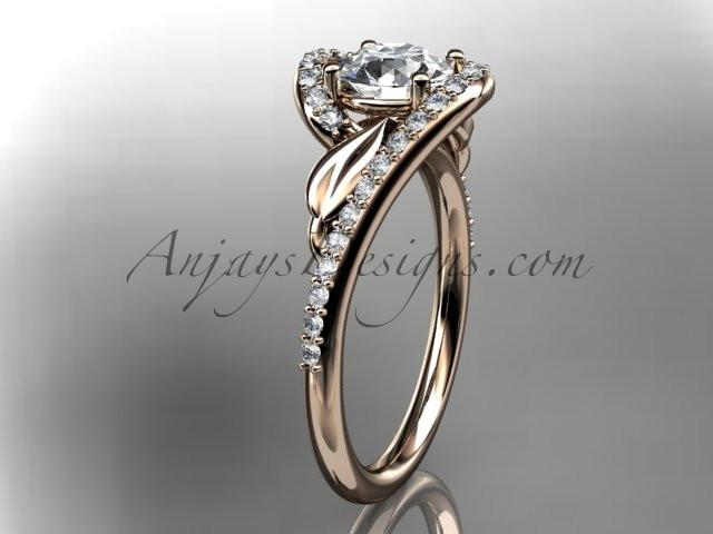 14k rose gold diamond leaf and vine wedding ring, engagement ring ADLR317 - AnjaysDesigns, Spring Collection - Jewelry, Anjays Designs - AnjaysDesigns, AnjaysDesigns - AnjaysDesigns.co,