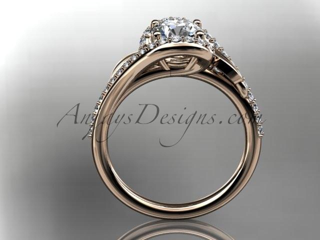 "14k rose gold diamond leaf and vine wedding ring, engagement ring with a ""Forever One"" Moissanite center stone ADLR317 - AnjaysDesigns, Moissanite Engagement Rings - Jewelry, Anjays Designs - AnjaysDesigns, AnjaysDesigns - AnjaysDesigns.co,"