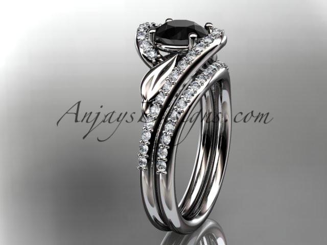14k white gold diamond leaf and vine wedding ring, engagement set with a Black Diamond center stone ADLR317S - AnjaysDesigns