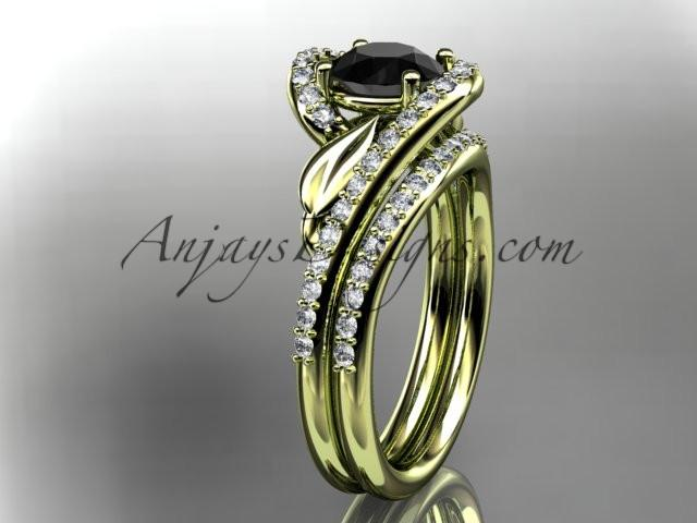 14k yellow gold diamond leaf and vine wedding ring, engagement set with a Black Diamond center stone ADLR317S - AnjaysDesigns