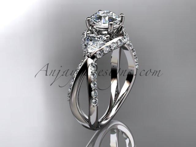 Unique platinum diamond wedding ring, engagement ring ADLR318 - AnjaysDesigns