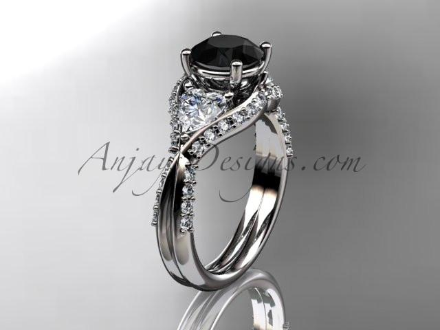Unique platinum diamond wedding ring, engagement ring with a Black Diamond center stone ADLR319 - AnjaysDesigns