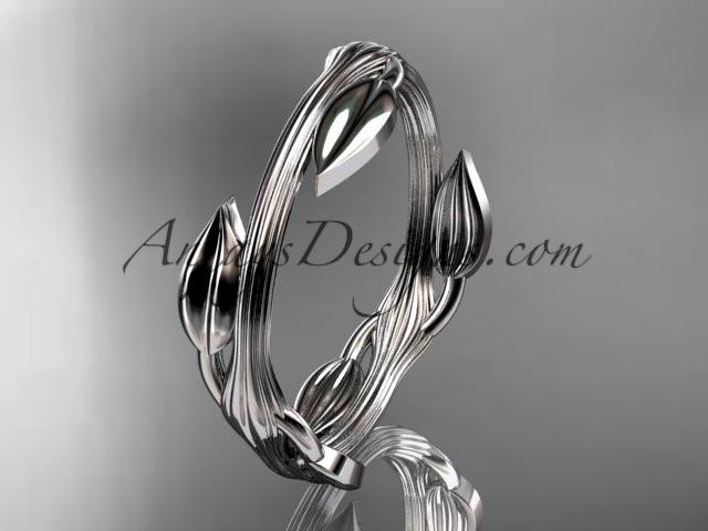 platinum leaf and vine wedding ring, engagement ring ADLR31A - AnjaysDesigns