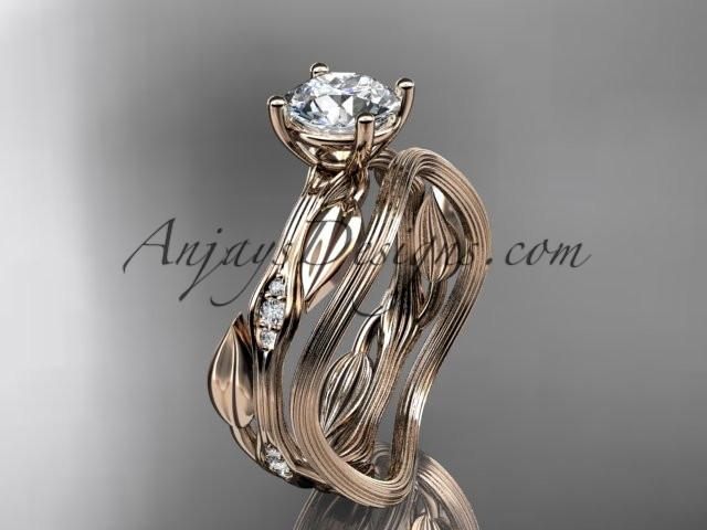 "14k rose gold diamond leaf and vine wedding ring set, engagement ring set with ""Forever One"" Moissanite center stone ADLR31S - AnjaysDesigns, Moissanite Engagement Sets - Jewelry, Anjays Designs - AnjaysDesigns, AnjaysDesigns - AnjaysDesigns.co,"