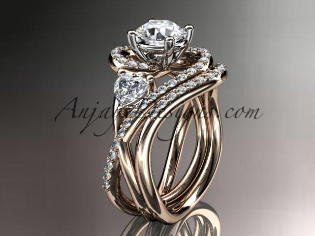 Unique 14kt rose gold diamond engagement set, wedding ring ADLR320S - AnjaysDesigns