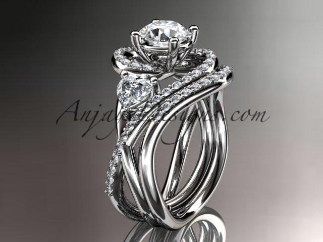 Unique 14kt white gold diamond engagement set, wedding ring ADLR320S - AnjaysDesigns