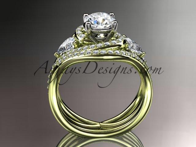 Unique 14kt yellow gold diamond engagement set, wedding ring ADLR320S - AnjaysDesigns