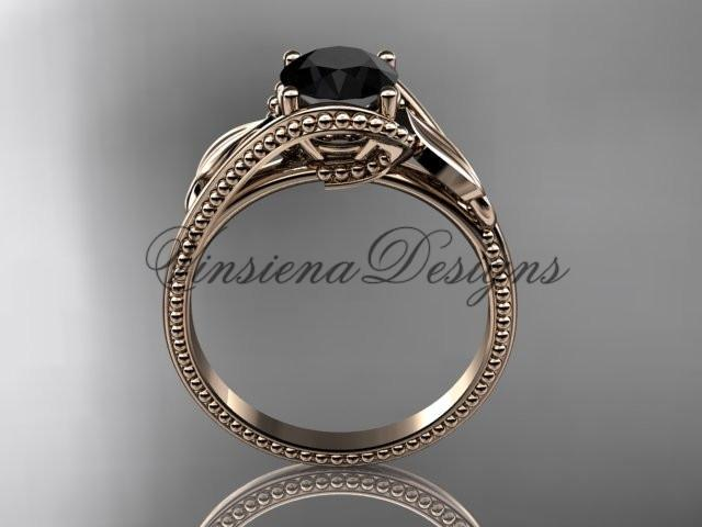 Unique 14kt rose gold engagement ring. Enhanced Black Diamond ADLR322