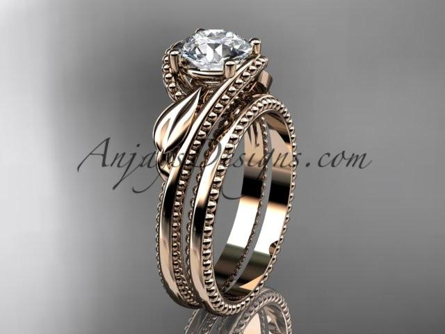 Unique 14kt rose gold engagement set ADLR322S - AnjaysDesigns
