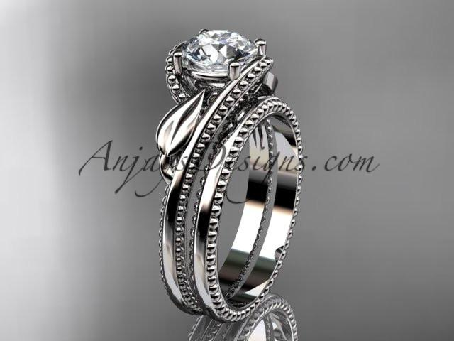 "Unique platinum engagement set with a ""Forever One"" Moissanite center stone ADLR322S - AnjaysDesigns"