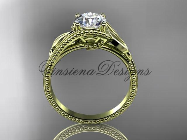 "Unique 14kt yellow gold engagement ring ""Forever One"" Moissanite ADLR322"