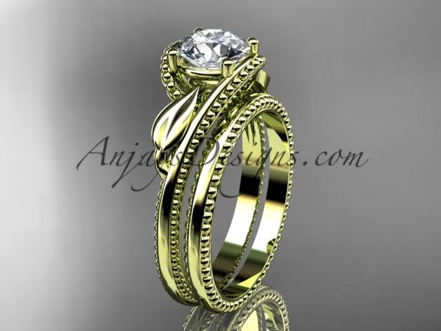 Unique 14kt yellow gold engagement set ADLR322S - AnjaysDesigns