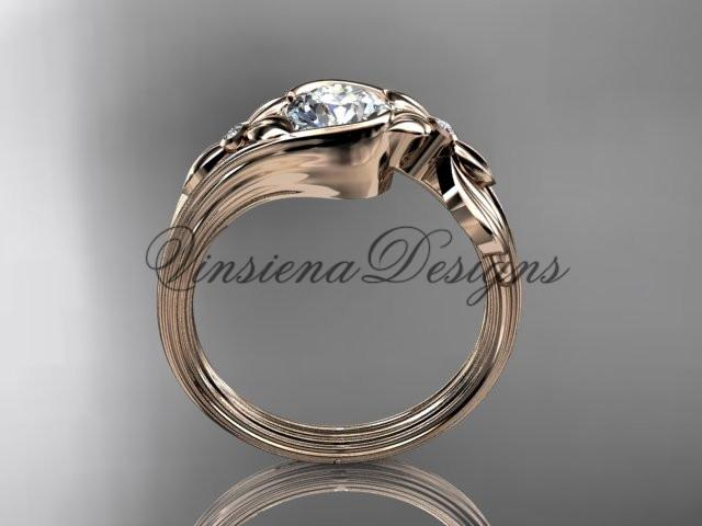 "14k rose gold diamond floral engagement ring ""Forever One"" Moissanite ADLR324"