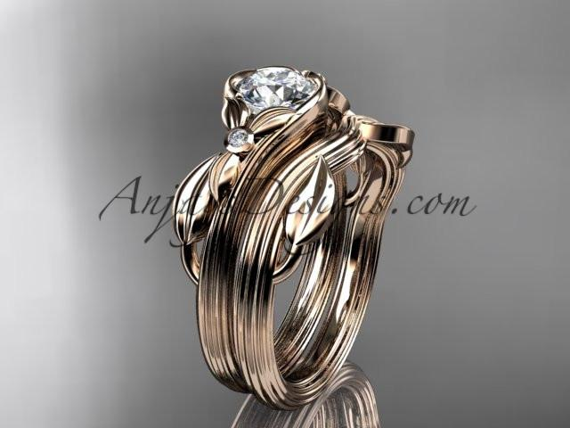 Unique 14kt rose gold diamond floral engagement set ADLR324S - AnjaysDesigns