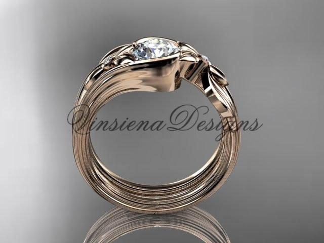 Unique 14kt rose gold diamond floral engagement set, One Moissanite  ADLR324S