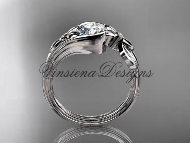 "platinum diamond floral engagement ring ""Forever One"" Moissanite ADLR324"