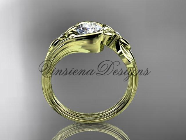 "14k yellow gold diamond floral engagement ring ""Forever One"" Moissanite ADLR324"