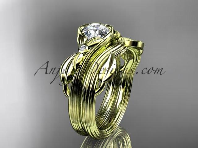 Unique 14kt yellow gold diamond floral engagement set ADLR324S - AnjaysDesigns