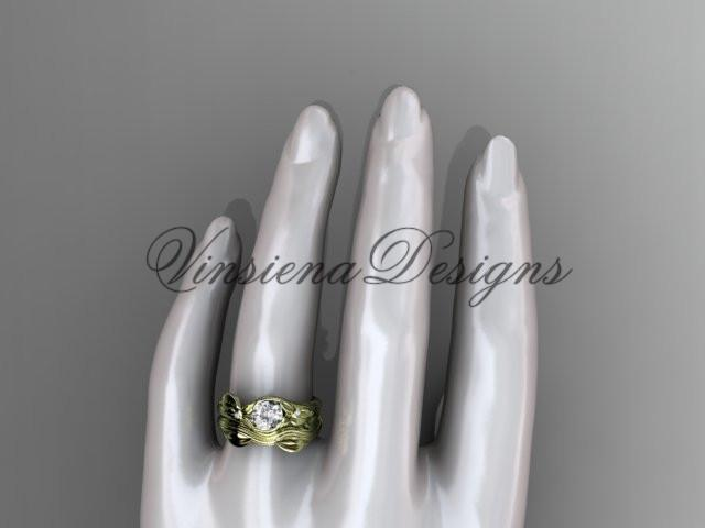 Unique 14kt yellow gold diamond floral engagement set, One Moissanite  ADLR324S
