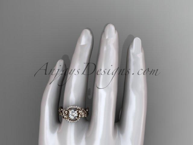 14kt rose gold diamond unique engagement ring, wedding ring ADLR326 - AnjaysDesigns