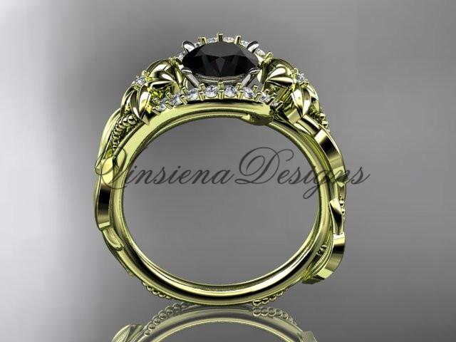 14k yellow gold diamond floral engagement ring. Enhanced Black Diamond ADLR326