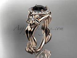 14k rose gold diamond unique leaf and vine, floral engagement ring with a Black Diamond center stone ADLR327 - AnjaysDesigns